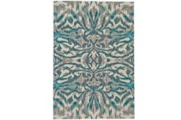 26X48 Rug-Turquoise And Grey Kaleidoscope Damask