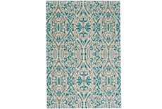 63X90 Rug-Turquoise Distressed Damask
