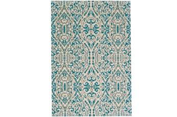 63X90 Rug-Turquoise Distressed Damask
