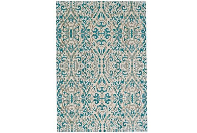 63X90 Rug-Turquoise Distressed Damask - 360