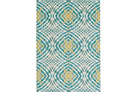 63X90 Rug-Aqua And Yellow Kaleidoscope