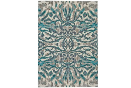 63X90 Rug-Turquoise And Grey Kaleidoscope Damask