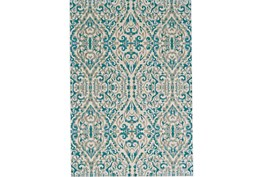 94X132 Rug -Turquoise Distressed Damask