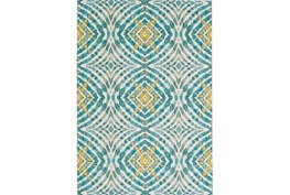 94X132 Rug-Aqua And Yellow Kaleidoscope