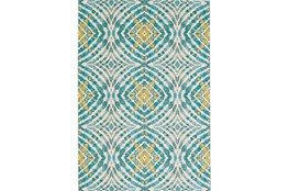 94X132 Rug-Aqua And Yellow Kaleidoscope
