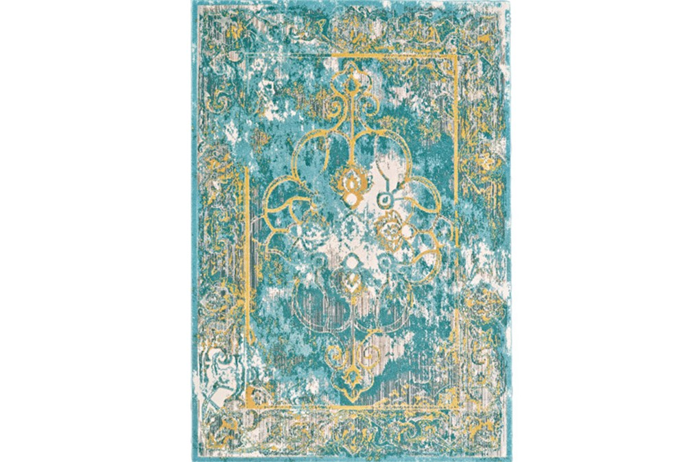 94X132 Rug-Aqua And Yellow Distressed Medallion
