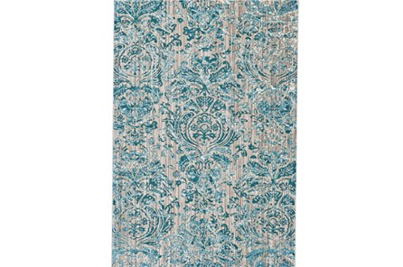 94X132 Rug-Blue And Grey Strie Damask - Main