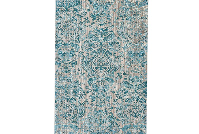 94X132 Rug-Blue And Grey Strie Damask - 360