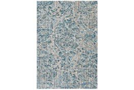 """7'8""""x11' Rug-Blue And Grey Strie Damask"""