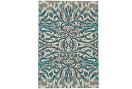 94X132 Rug-Turquoise And Grey Kaleidoscope Damask
