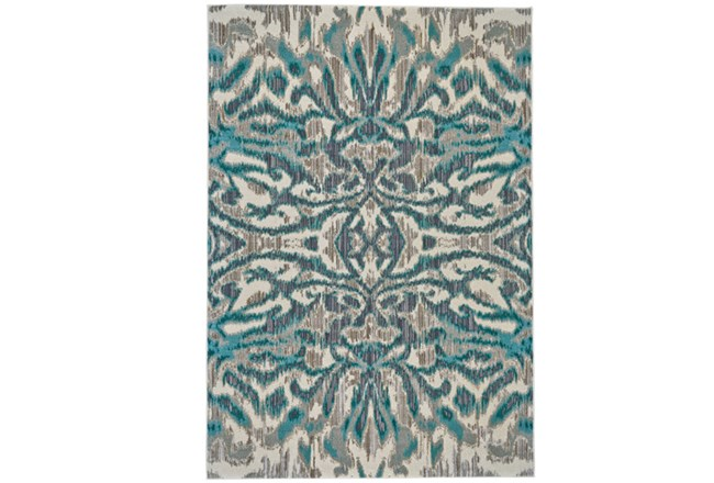 94X132 Rug-Turquoise And Grey Kaleidoscope Damask - 360