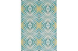122X165 Rug-Aqua And Yellow Kaleidoscope