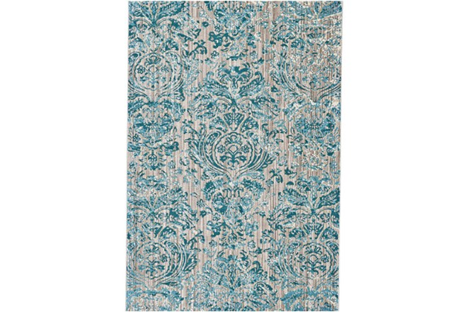 122X165 Rug-Blue And Grey Strie Damask - 360