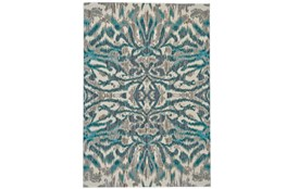 122X165 Rug-Turquoise And Grey Kaleidoscope Damask