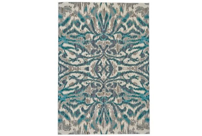 122X165 Rug-Turquoise And Grey Kaleidoscope Damask - 360