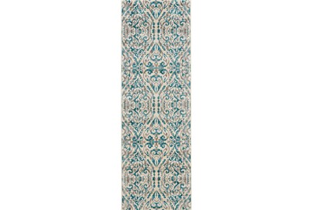 31X96 Rug-Turquoise Distressed Damask