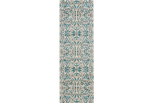 31X96 Rug-Turquoise Distressed Damask - 360