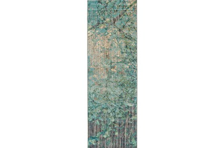 31X96 Rug-Aqua And Green Tangled Web