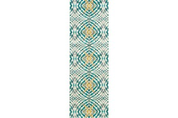 31X96 Rug-Aqua And Yellow Kaleidoscope