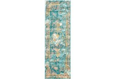 31X96 Rug-Aqua And Yellow Distressed Medallion