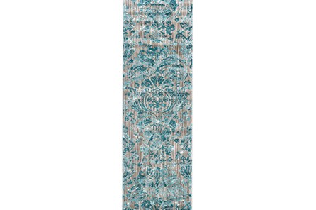 31X96 Rug-Blue And Grey Strie Damask - Main