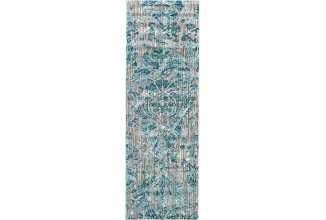 31X96 Rug-Blue And Grey Strie Damask - 360