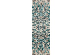 31X96 Rug-Turquoise And Grey Kaleidoscope Damask