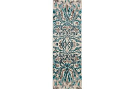 31X96 Rug-Turquoise And Grey Kaleidoscope Damask