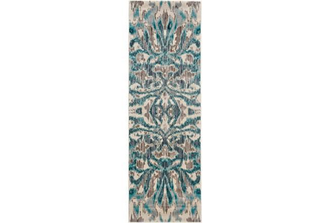 31X96 Rug-Turquoise And Grey Kaleidoscope Damask - 360