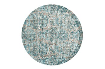 105 Inch Round Rug-Blue And Grey Strie Damask
