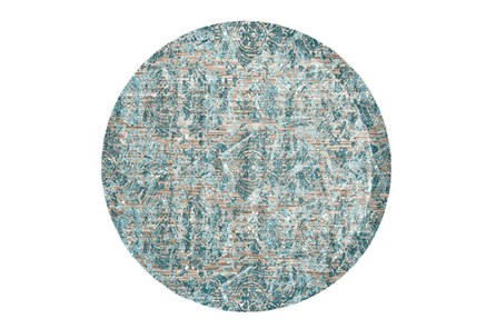 105 Inch Round Rug-Blue And Grey Strie Damask - Main