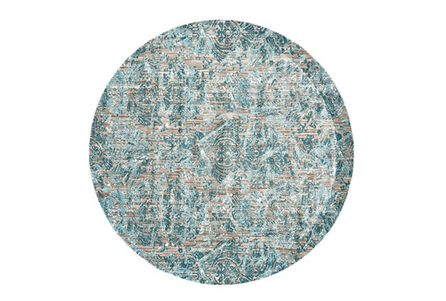 105 Inch Round Rug-Blue And Grey Strie Damask - 360