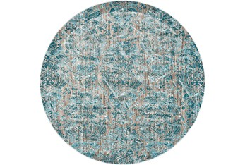 """8'7"""" Round Rug-Blue And Grey Strie Damask"""