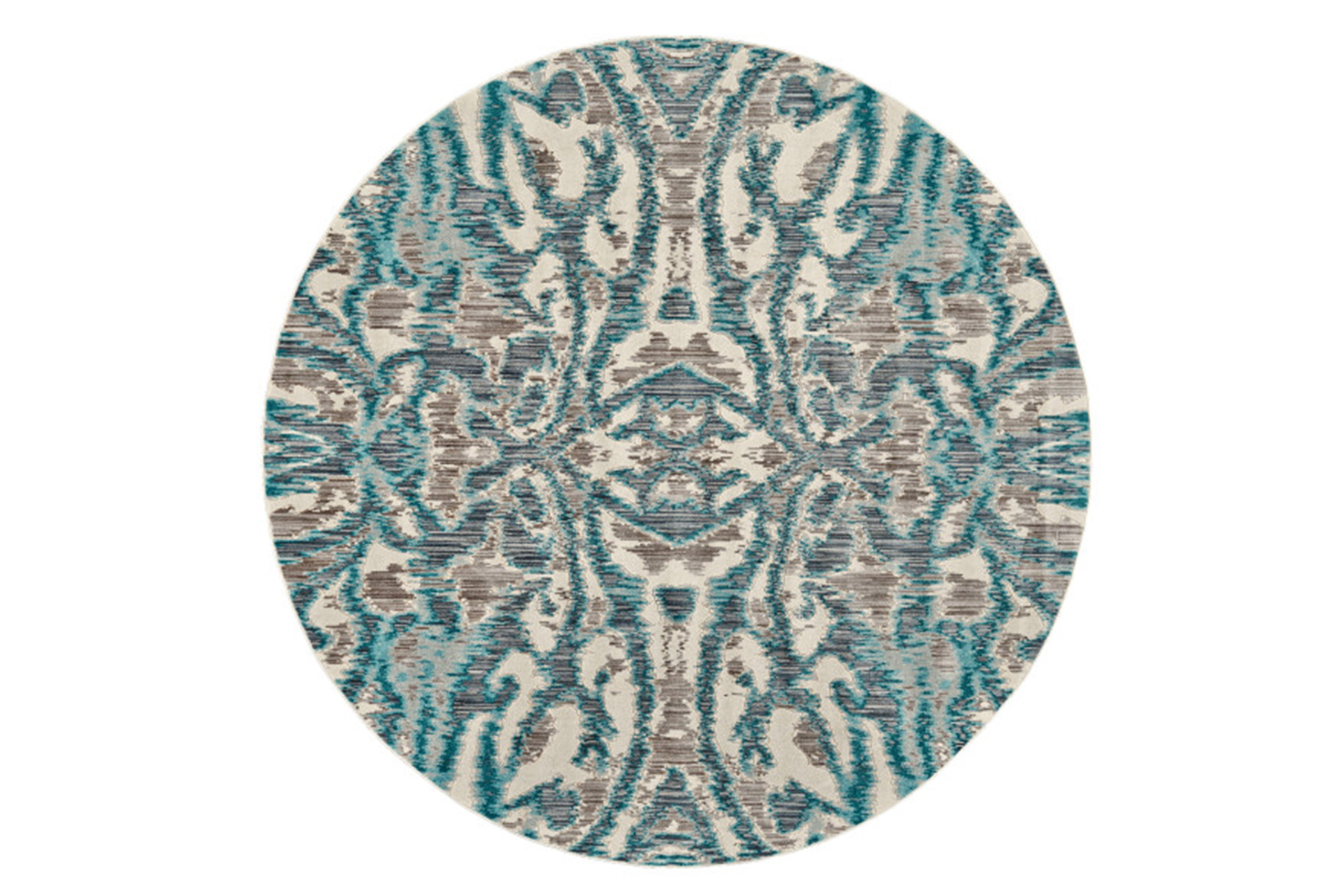 105 Inch Round Rug Turquoise And Grey Kaleidoscope Damask Living Spaces