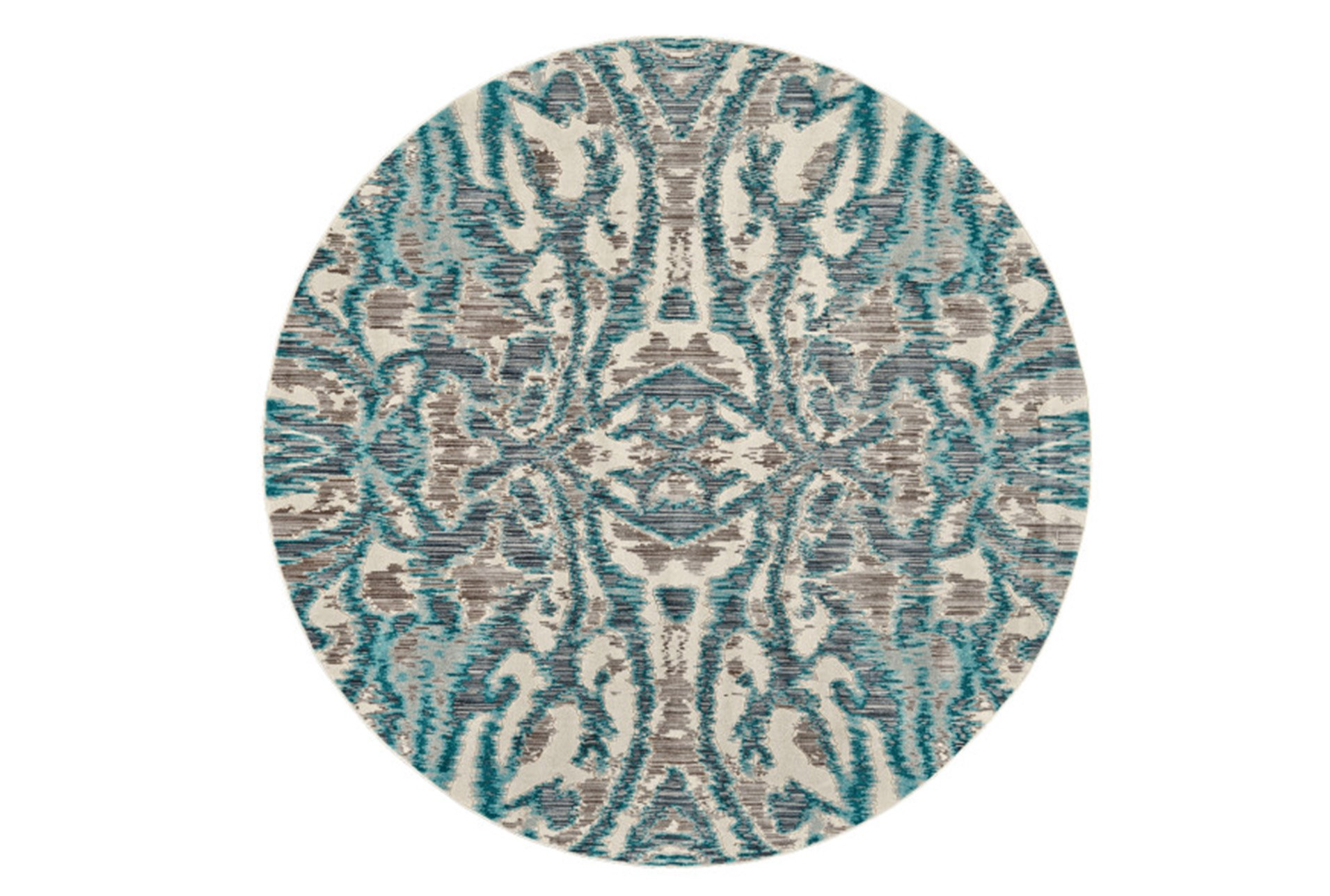105 Inch Round Rug Turquoise And Grey Kaleidoscope Damask