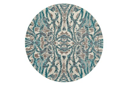 105 Inch Round Rug Turquoise And Grey
