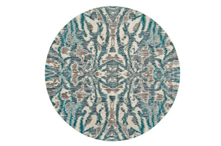 105 Inch Round Rug-Turquoise And Grey Kaleidoscope Damask - Main