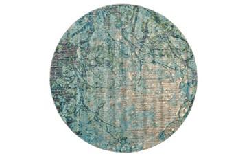 105 Inch Round Rug-Aqua And Green Tangled Web