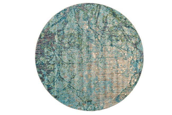 105 Inch Round Rug-Aqua And Green Tangled Web - 360