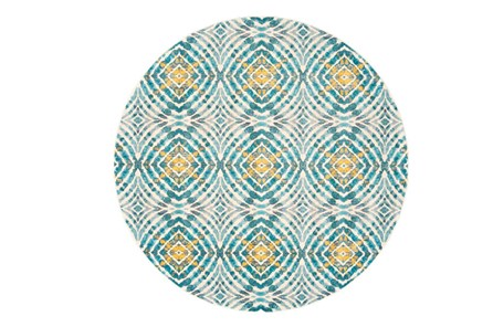 105 Inch Round Rug-Aqua And Yellow Kaleidoscope - Main