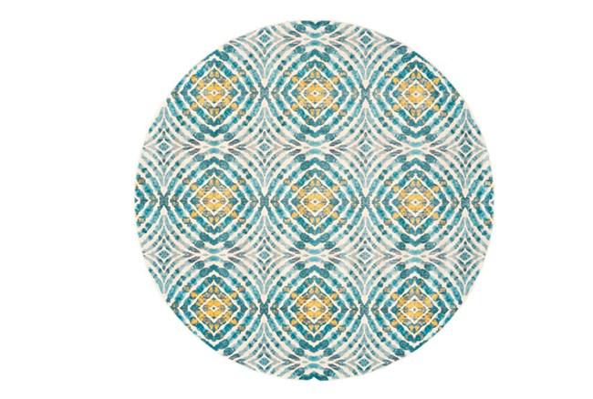 105 Inch Round Rug-Aqua And Yellow Kaleidoscope - 360