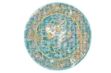 105 Inch Round Rug-Aqua And Yellow Distressed Medallion