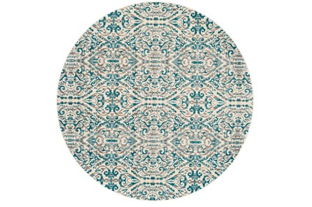 105 Inch Round Rug-Turquoise Distressed Damask - Main