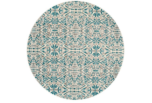 105 Inch Round Rug-Turquoise Distressed Damask - 360
