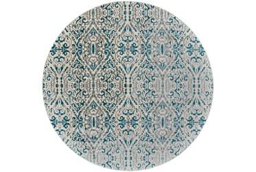 "8'7"" Round Rug-Turquoise Distressed Damask"