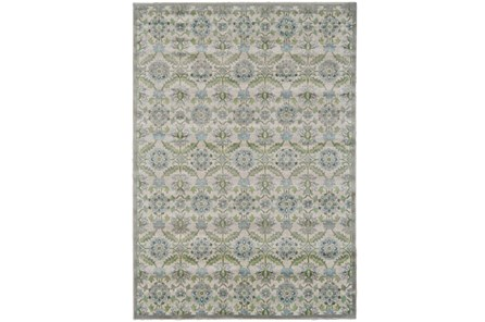 96X132 Rug-Spa And Green Small Floral Medallions