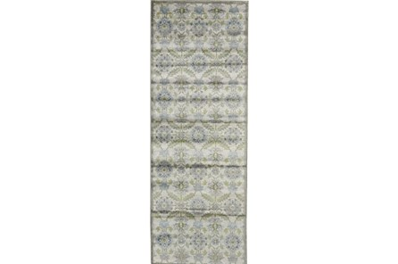 34X94 Rug-Spa And Green Small Floral Medallions