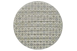 96 Inch Round Rug-Spa And Green Small Floral Medallions