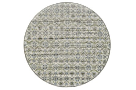96 Inch Round Rug-Spa And Green Small Floral Medallions - Main