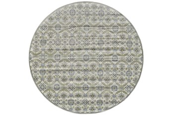 8' Round Rug-Spa And Green Small Floral Medallions